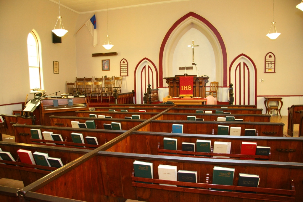 The small Methodist church had communion where people talked to god in their own hearts.